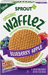 Sprout Organic Baby Food Toddler Snacks Wafflez, Blueberry Apple, Box of 5 Baked Waffle Snacks (Pack of 1)