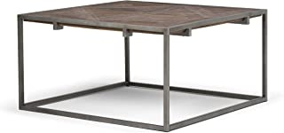 Simpli Home AXCAVY-05 Avery Solid Aged Elm Wood and Metal 34 inch Wide Square Modern Industrial Coffee Table in Distressed Java Brown Wood Inlay