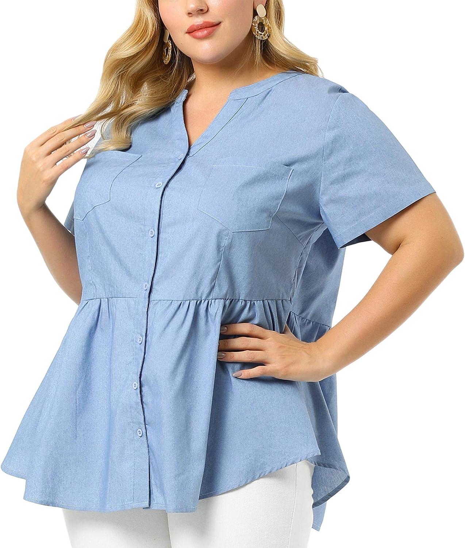 Agnes Orinda Plus Size Denim Shirts for Women Short Sleeve Chest Pocket V Neck Peplum Chambray Tops