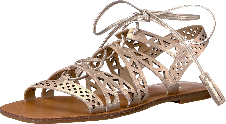 The Fix Women's Farrell Triangle-Cutout Square Toe Flat Dress Sandal, Light pink gold, 8 B US
