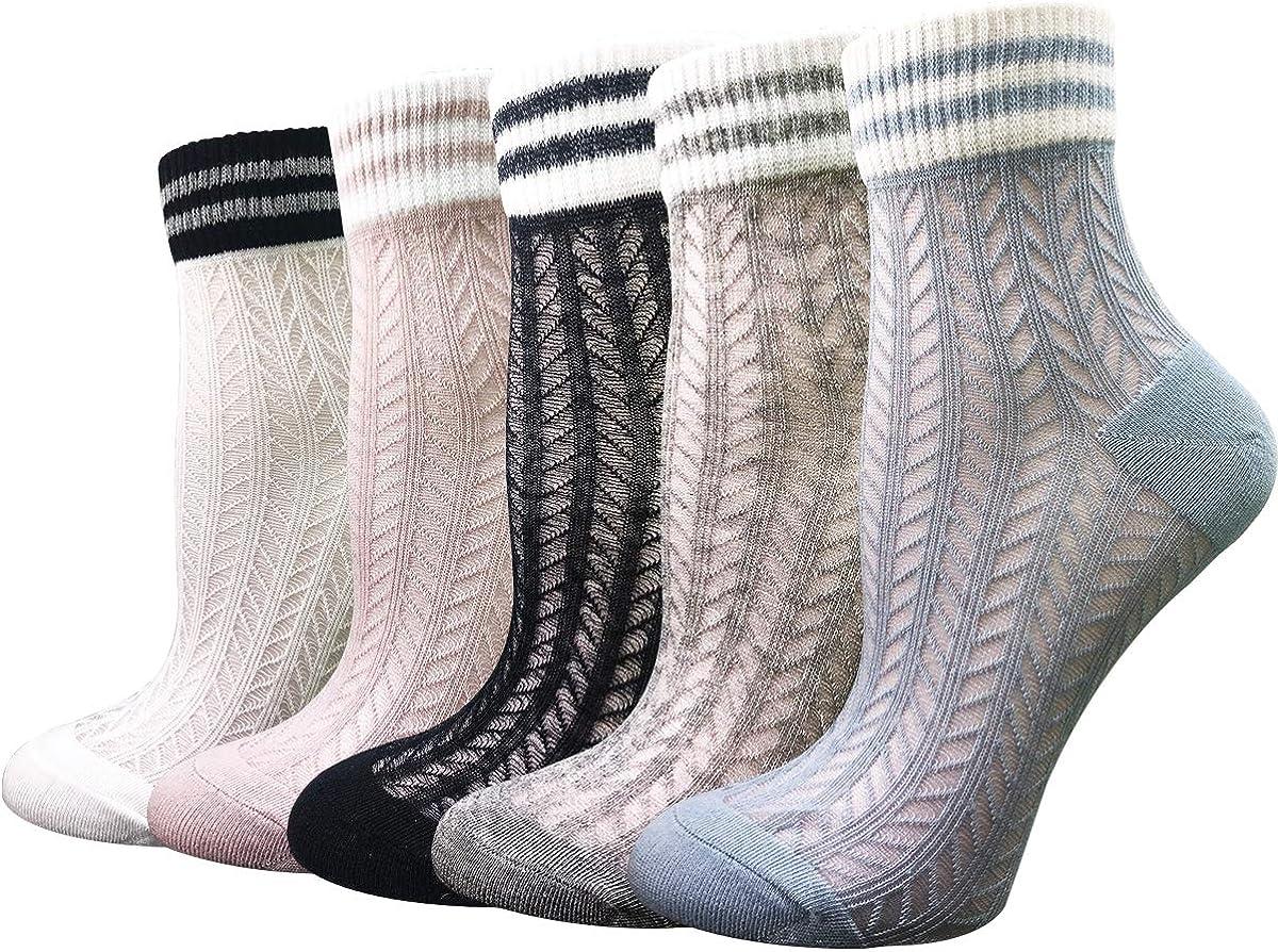 5 Pairs Ultra Thin Summer Socks Women Transparent Lace Elastic S