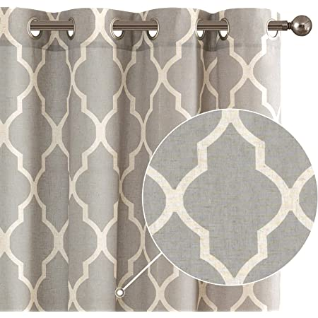 Soft Grey Moroccan Tile Print Curtains for Living Room Quatrefoil Flax Linen Blend Textured Geometry Lattice Grommet Drapes Drapery Window Treatment Set for Kitchen 72 inch Long 2 Panels