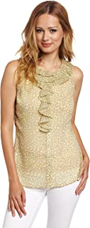 Anne Klein Women's Petite Size Patterned Sleeveless Blouse, Green, Petite