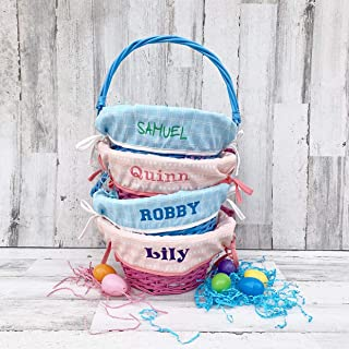 Easter Basket WITH Liner - Large 20 inch round Basket - Pink Coral or Blue