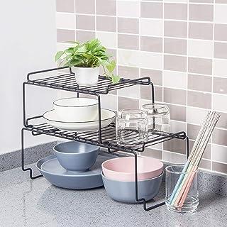 2-Pack Multifunctional Stackable Kitchen Storage Organizer Coated Steel Heavy-Duty Rustproof Shelf Rounded Edge Rack RV Ho...