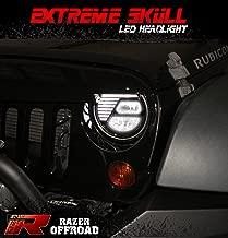 Razer Auto Extreme Skull LED Headlight Black,Hi-Bean + Low-Beam (Cree LEDs) + DRL, Die-Cast Aluminum Large Cooling heatsink 1 Pair for 07-17 Jeep Wrangler JK (RZJHL-6506)