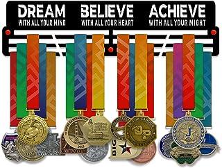 VICTORY HANGERS Dream Believe Achieve V2 Medal Houder Display Rack - 3 Bars Zwart Gecoat 3 mm Staal Metalen Hanger met Wal...
