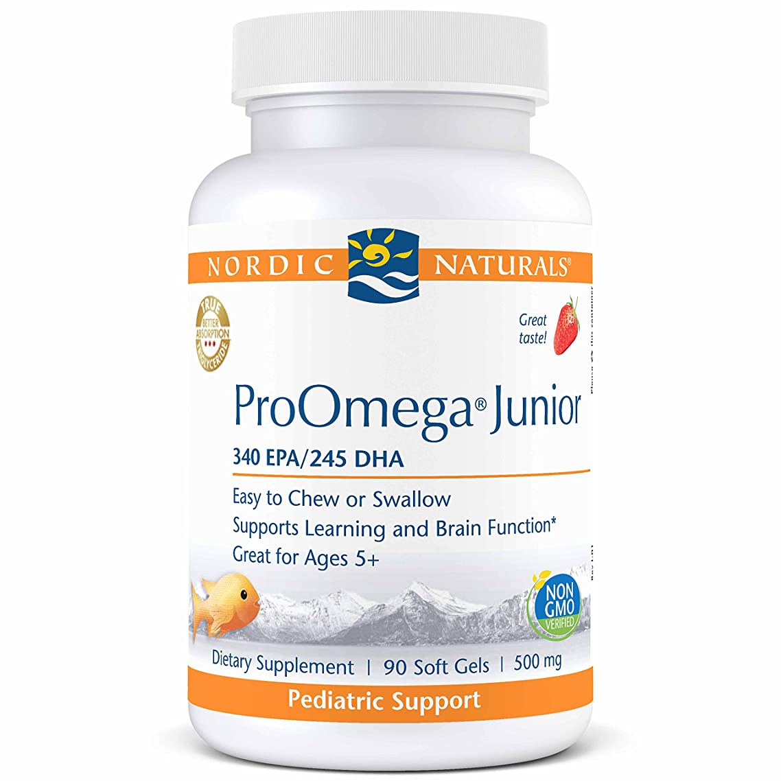 Nordic Naturals ProOmega Junior - Fish Oil, 340 mg EPA, 245 mg DHA, Support for Healthy Neurological, Nervous System, Eye, and Immune System Development*, Strawberry Flavor, 90 Soft Gels