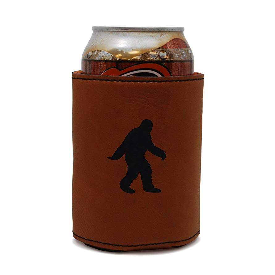 MODERN GOODS SHOP Leather Can Cooler With Bigfoot Engraving - Oil, Stain, and Water Resistant Beer Hugger - Standard Size Beer and Soda Can Sleeve
