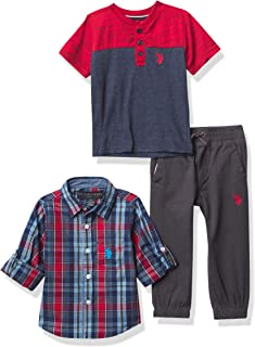 U.S. POLO ASSN. boys 3PC LS WVN/SS TEE/PANT SET Button Down Shirt