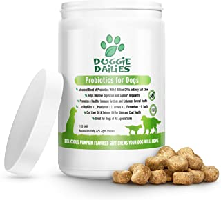 Doggie Dailies Probiotics for Dogs, 225 Soft Chews, Advanced Dog Probiotics with Prebiotics, Relieves Dog Diarrhea, Improves Digestion, Enhances Immune System, Improves Overall Health