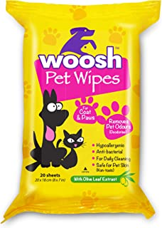 Woosh Pet Wipes Hypoallergenic, Antibacterial, Non-Toxic for Dogs or Cats, with Olive Leaf Extract, Vitamin E, Alcohol and...