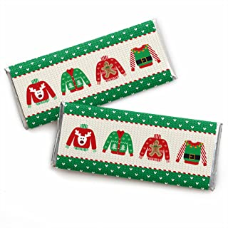 Big Dot of Happiness Ugly Sweater - Candy Bar Wrapper Holiday and Christmas Party Favors - Set of 24