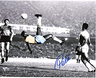 "Pele Brazil Autographed 11"" x 14"" Spotlight Bicycle Kick Photograph Signed in Blue - Fanatics Authentic Certified"