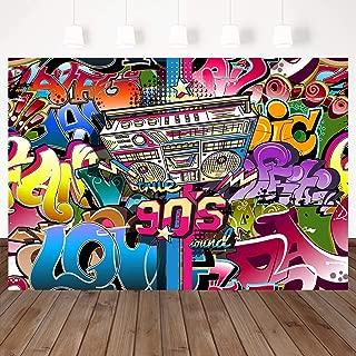 Mehofoto 90s Backdrop Radio Retro Photography Backdrops 7×5ft Vinyl Graffiti Hip Hop Party Background 90's Party Decoration Props