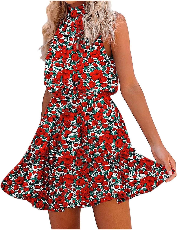 iQKA Women Halter Dress Floral Print Bandage Summer Casual Dresses High Neck A-Line Swing Short Mini Dresses Vestidos