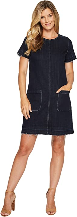 Short Sleeve Indigo Denim Release Hem Shift Dress