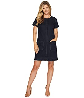 Short Sleeve Indigo Denim Release Hem Shift Dress