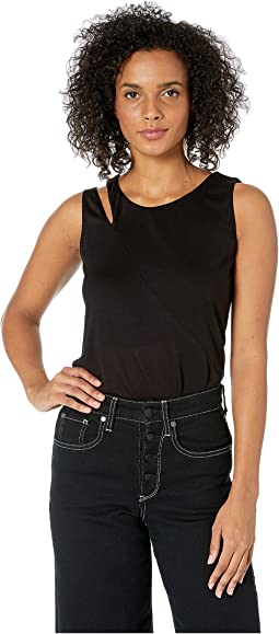 High-Low Jersey Tank Top w/ Shoulder Detail
