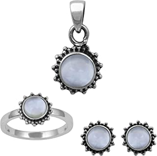 925 Sterling Silver Round Blue Topaz Gemstone Ring With Pendant Set Anniversary Gift For Women