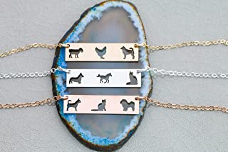 Three Pets Family Custom Dog BAR Necklace - IBD - Layering Charm - Personalize Animal Breed - 935 Sterling Silver 14K Rose Gold Filled