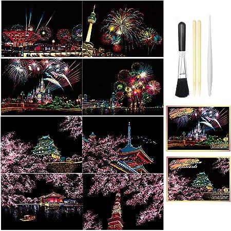 European/& Beautiful City A4 Kunsthandwerk f/ür Kinder /& Erwachsene Rainbow Painting Night View Scratchboard Scratch /& Sketch Art Paper Gravur Art Set: 8 Sitze Scratch Cards Scratch Drawing Pen