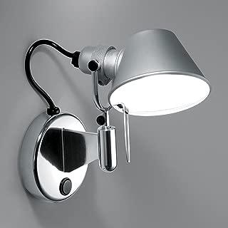 Artemide Tolomeo Micro Faretto–Lámpara LED de pared, aluminio anodizado pulido con interruptor