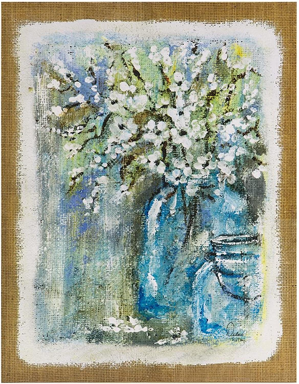 Madison Park Burlap Blossoms bluee Flowers Floral Canvas Wall Art 22X28 2 Piece Multi Panel, Print Wall Décor