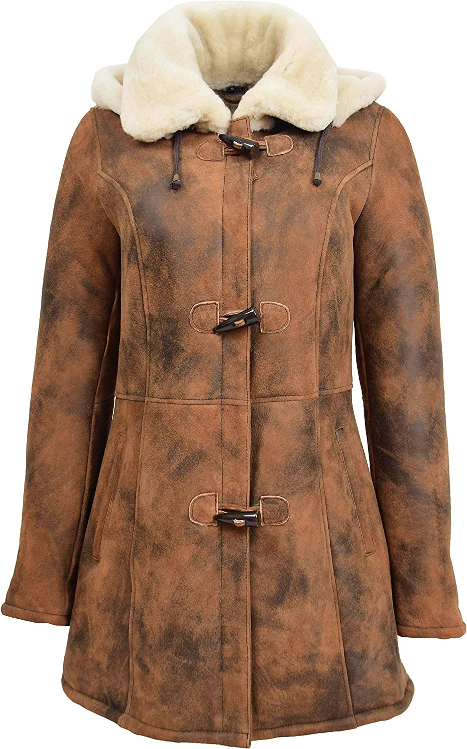 Womens Sheepskin Popular shop is the lowest price challenge Duffle Coat Finally popular brand Mid Parka Hooded Shearling Length E