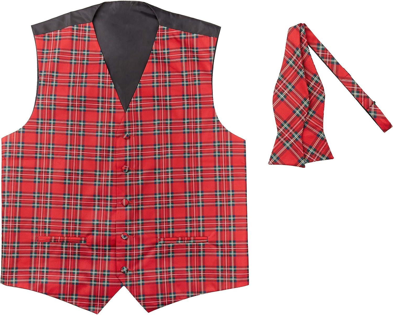Jacob Alexander Red Christmas Plaid Men's Vest and Self-Tie Bow Tie Set