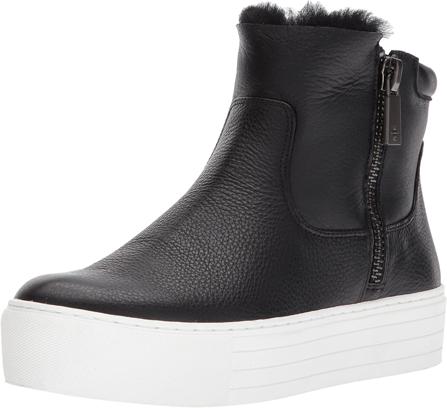 Kenneth Cole New York Womens Janelle Platform Sneaker Bootie with Double Zip Shearling Sneaker
