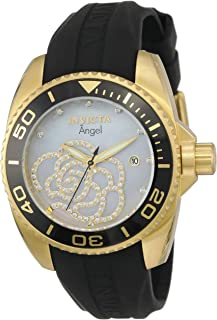 Women's Angel Gold Tone Stainless Steel and Black Silicone Quartz Watch, Two Tone (Model: 0489)