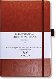 "Classic Bullet Journal Notebook - Size A5: 5.3"" × 8.3"", Hard Cover, Brown PU Leather, Dotted Grid, 200 Pages, 120 GSM Ultra Thick Acid Free Paper, Inner Pocket - Arizon Canada"