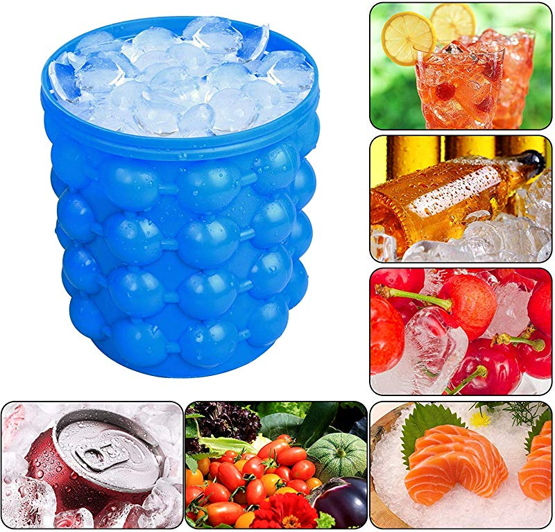 Besmon Ice Bucket Large Silicone Ice Bucket Ice Mold With Lid 2 In 1 Space Saving Ice Cube Maker Silicon Ice Cube Maker Portable Silicon Ice Cube Maker Blue