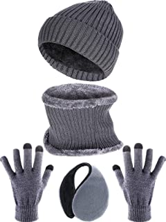 Tatuo 4 Pieces Ski Warm Set Includes Winter Hat Scarf Warmer Gloves Winter Outdoor Earmuffs for Adults Kids (Set 7)