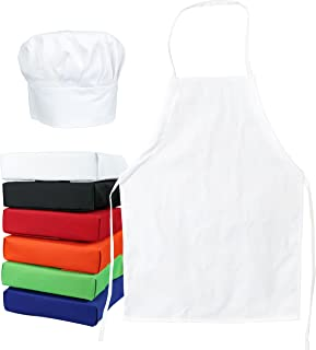 Odelia ObviousChef Kids - Child's Chef Hat Apron Set, Kid's Size, Children's Kitchen Cooking and Baking Wear Kit for Those Chefs in Training, Size (M 6-12 Year, White)