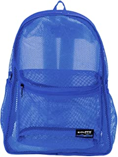 Heavy Duty Classic Gym Student Mesh See Through Netting Backpack | Padded Straps | Royal Blue