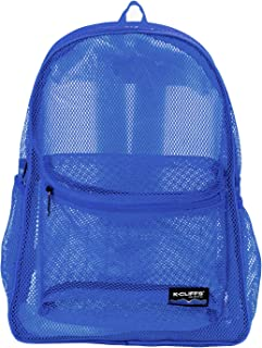 Heavy Duty Classic Gym Student Mesh See Through Netting Backpack   Padded Straps   Royal Blue