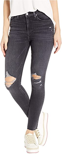 Barbara High-Rise Ankle Raw Hem Skinny Jeans in Worn Kona