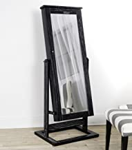 Hives and Honey Cheval Pinboard Cabinet Standing Jewelry Armoire Organizer with Mirror in Ceruse, Black