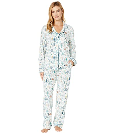 BedHead Pajamas Long Sleeve Classic Notch Collar Pajama Set (Cabin In the Woods) Women