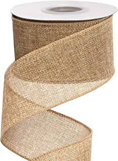 Ribbli Burlap Wired Ribbon,2-1/2 Inch x 10 Yard,Natural,Solid Wired Edge Ribbon for Big Bow,Wreath,Tree Decoration,Outdoor...