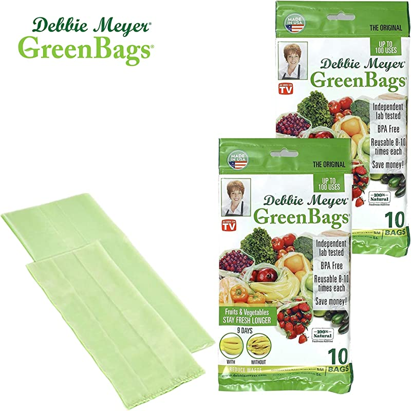 Debbie Meyer GreenBags Reusable BPA Free Food Storage Bags Keep Fruits And Vegetables Fresher Longer In These GreenBags 20 Pack 10 Medium 10 Large