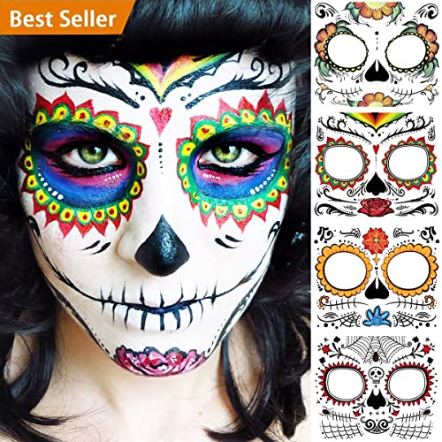 BenRan 4PCS Day Of The Dead/Dia De Los Muertos Costume Mask For Women/