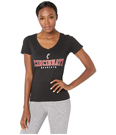 Champion College Cincinnati Bearcats University V-Neck Tee (Black) Women