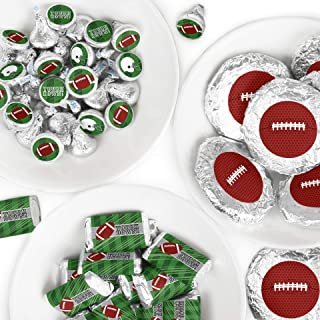 End Zone - Football - Mini Candy Bar Wrappers, Round Candy Stickers and Circle Stickers - Baby Shower or Birthday Party Candy Favor Sticker Kit - 304 Pieces