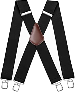 Mens Suspenders Strong Clips Heavy Duty X- Back 2 Inch Adjustable Suspenders Elastic Braces for Work Wedding Party