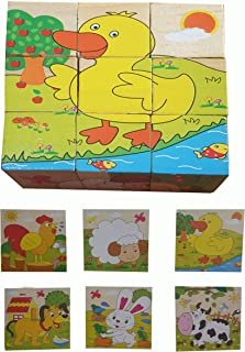 Educational game for young children A jigsaw puzzle of 6 pieces in 1 - farm animals