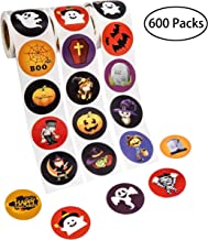 Halloween Favors Stickers Roll - Assorted Jack O Lantern Party Decorations Trick or Treat Goodie Bag Stuffer Filler for Kids - Pumpkin / Bats / Spiders / Witch