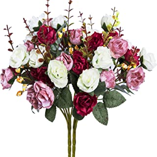 Hibery 7 Branch 21 Heads Artificial Fake Flowers Silk Rose Bouquet Wedding Home Office Floral Decor, Pack of 2 (White Pink)